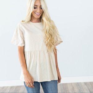 Tops - ☀️🌵💕 Cream short sleeve peplum top, so comfy!